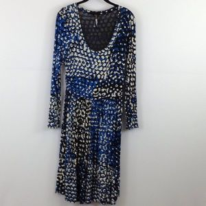 Plenty by Tracy Reese blue/black/cream dress sizeM